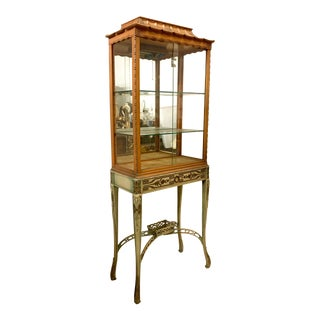 Chinoiserie Chinese Chippendale Style Pagoda Shaped Vitrine Cabinet For Sale