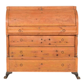 19th Century Chest With Convex Drop Front and Inner Drawers For Sale