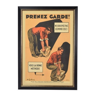 "1930s Vintage Original Andre Galland ""Prenez Garde!"" French Occupational Safety Poster For Sale"