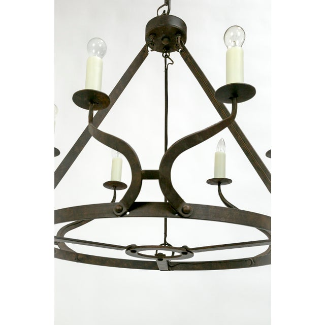 Metal Rustic Iron Wavy Armed Chandelier For Sale - Image 7 of 11