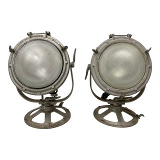 Pair of Vintage Crouse-Hinds Nautical Searchlights C.1930 For Sale