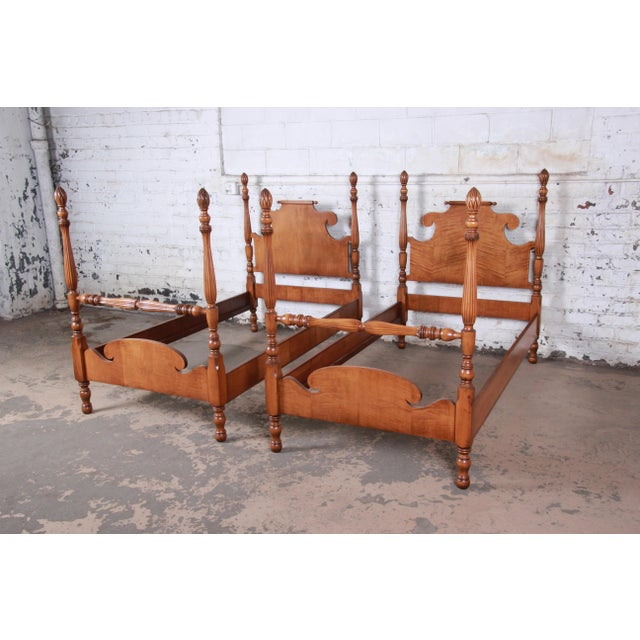 British Colonial Vintage Tiger Maple Twin Pineapple Poster Beds, Pair For Sale - Image 3 of 13