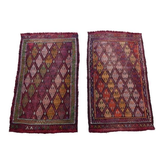 Pair Handwoven Turkish Kilim Rug Pastel Colors Area Rug Petite Braided Kilim - 1′8″ × 2′9″ For Sale
