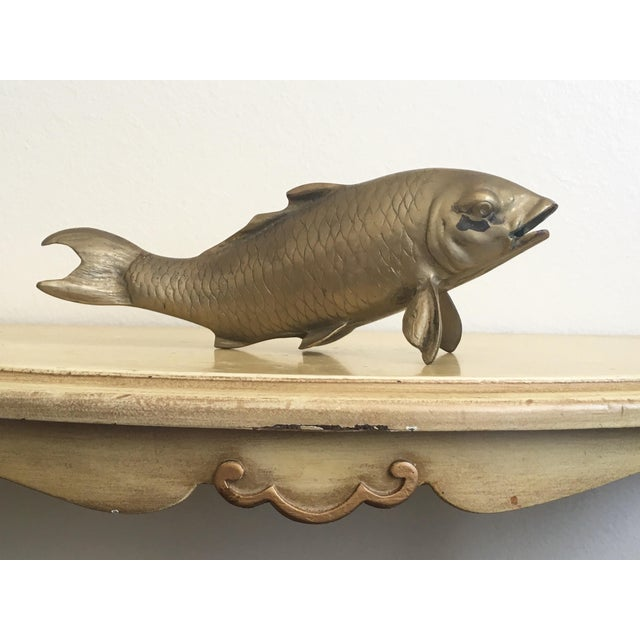 Vintage Mid-Century Asian Brass Koi Statue - Image 2 of 8