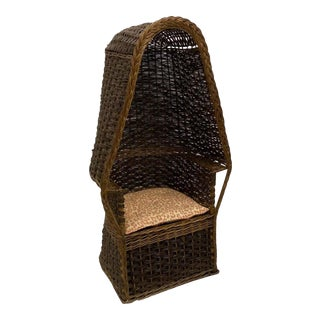 1930s Hand Woven Wicker Porter's Chair For Sale