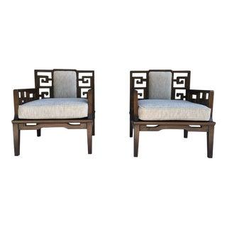 Asian Modern Chairs W/ Greek Key Motif, a Pair For Sale