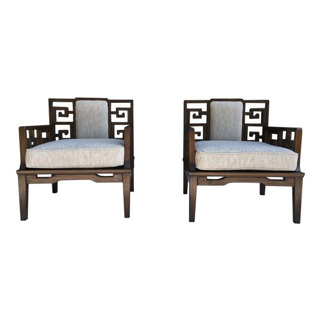 Remarkable Asian Modern Chairs W Greek Key Motif A Pair Machost Co Dining Chair Design Ideas Machostcouk