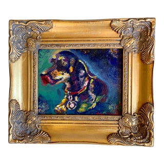 Original Oil Painting of Dog in Gold Frame For Sale