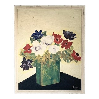 1945 Painting - Flower Still Life, Signed For Sale