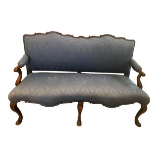 French Provincial Blue Settee For Sale