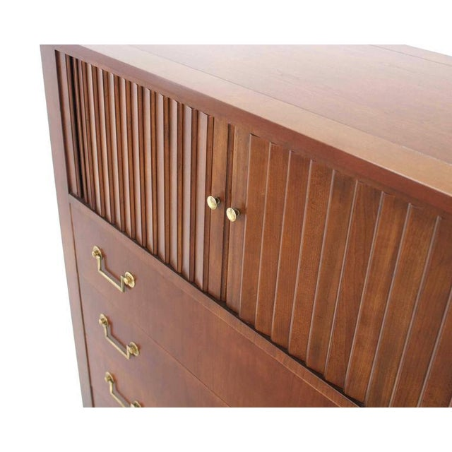 Mid-Century Modern Baker Modern Five Drawer High Chest Tambour Door Compartment Brass Hardware Pull For Sale - Image 3 of 7