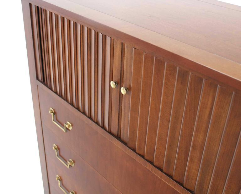 Baker Modern Five Drawer High Chest Tambour Door Compartment Brass Hardware  Pull   Image 3 Of