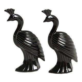 Vintage Fitz and Floyd Black Deco Peacock Bird Salt & Pepper Shaker Set For Sale