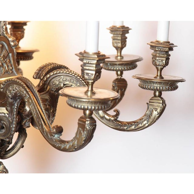 Ornate 19th Century French 8-Light Bronze Chandelier with Cherubs and Faces - Image 4 of 10