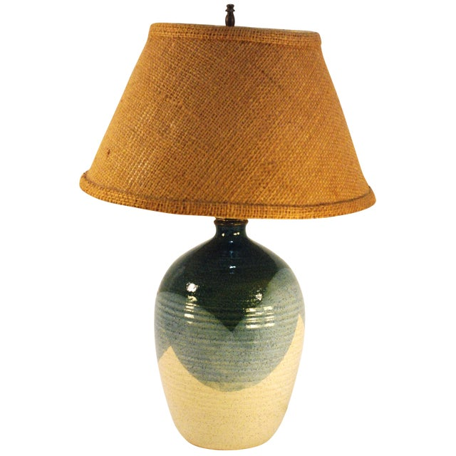 Mid-Century Blue & Tan Pottery Lamp - Image 1 of 7