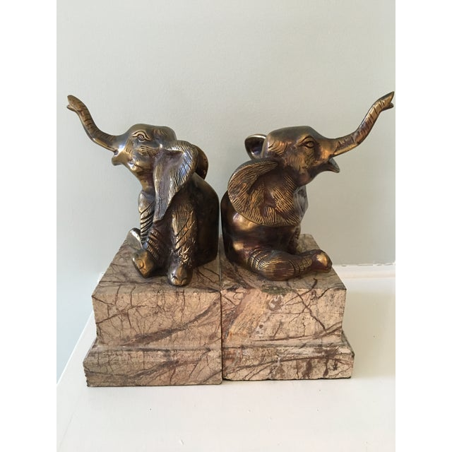 English Traditional Mid-Century Vintage Brass and Marble Elephant Bookends - a Pair For Sale - Image 3 of 12