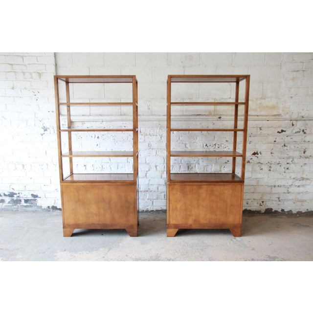 Michael Taylor for Baker Far East Collection Burl Wood Wall Units, Pair For Sale - Image 11 of 13