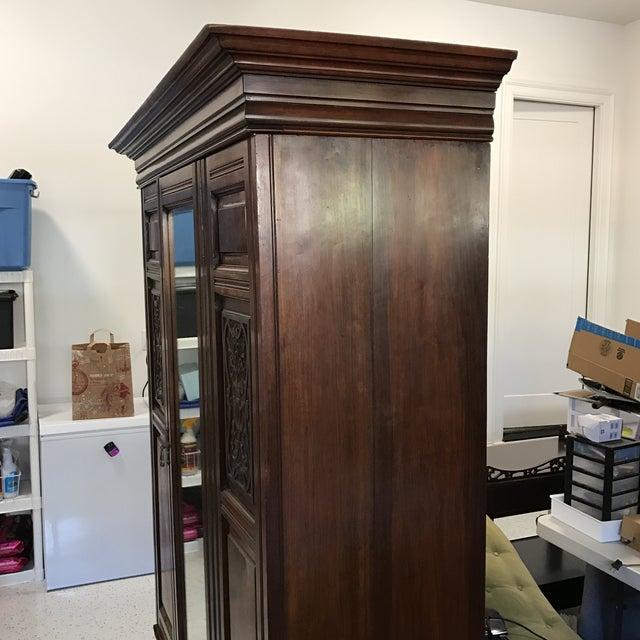 Antique Mirrored Door Armoire - Image 7 of 7