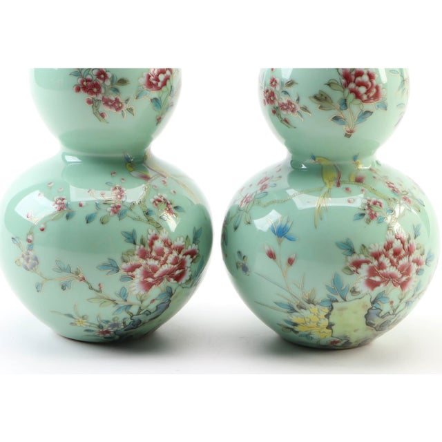 Chinoiserie Chinese Celadon Porcelain Double Gourd Vases With Hànzì and Floral Motif - a Pair For Sale - Image 3 of 13