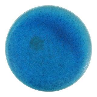 Vintage Lachenal Large Blue Pottery Charger For Sale