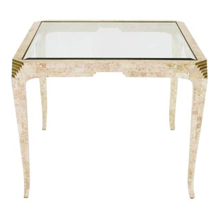Casa Bique Tessellated Coral and Brass Game Table