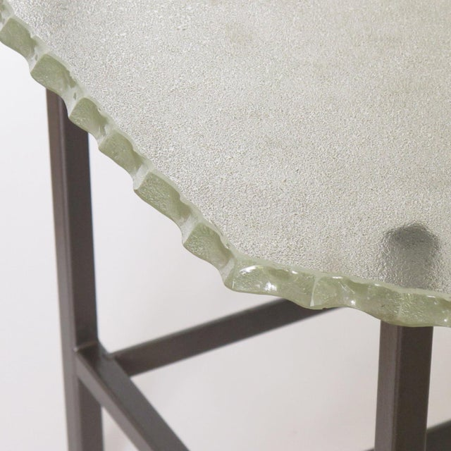 Mid 20th Century Fontana Arte Style 1960s Italian Glass Slab and Metal Coffee or Cocktail Table For Sale - Image 5 of 10