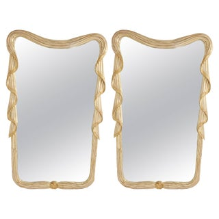 Carved Italian Silver Gilt Mirrors - A Pair