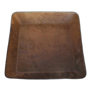 Large Vintage Leather Hand-Formed Cowhide Basket or Tray For Sale