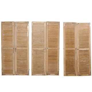 Set of Three Pairs of French 19th Century Natural Wood Shuttered Doors For Sale