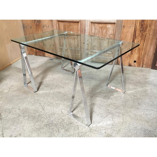 Mid-Century Modern Mirrored Polished Aluminium Sawhorse Table Desk For Sale - Image 11 of 11
