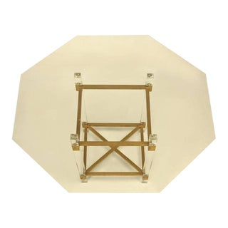 French Acrylic & Brass Dining Table For Sale