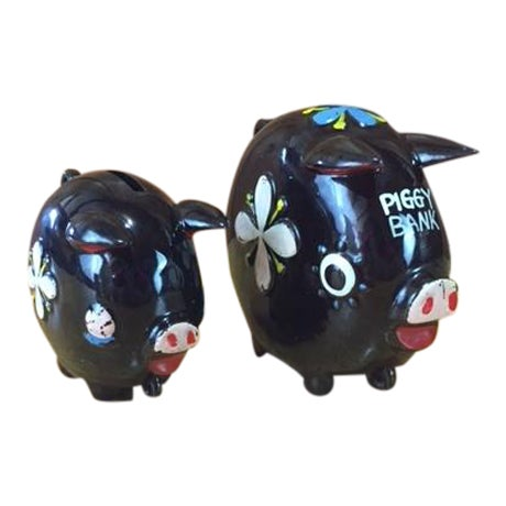 Hand Painted Tilso Piggy Banks - A Pair For Sale