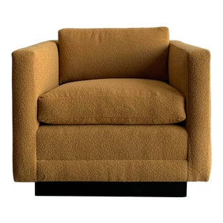1970s Vintage Cube Chair in Mustard Boucle For Sale