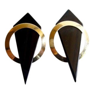 1980's 14k Gold + Onyx Geometric Earrings For Sale
