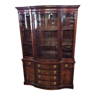 1950s Georgian Wallace Nutting by Drexel Inlaid Mahogany Breakfront For Sale