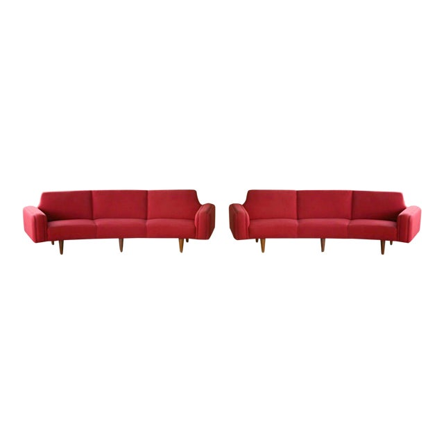 Large Danish 1960s Illum Wikkelso for Aarhus Model 450 Curved Sofas - a Pair For Sale