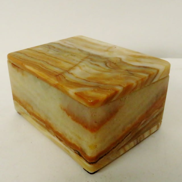 Vintage Carved Onyx Box For Sale - Image 4 of 10