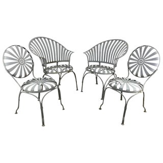 Francois Carré French Sunburst Garden Chairs - Set of 4 For Sale