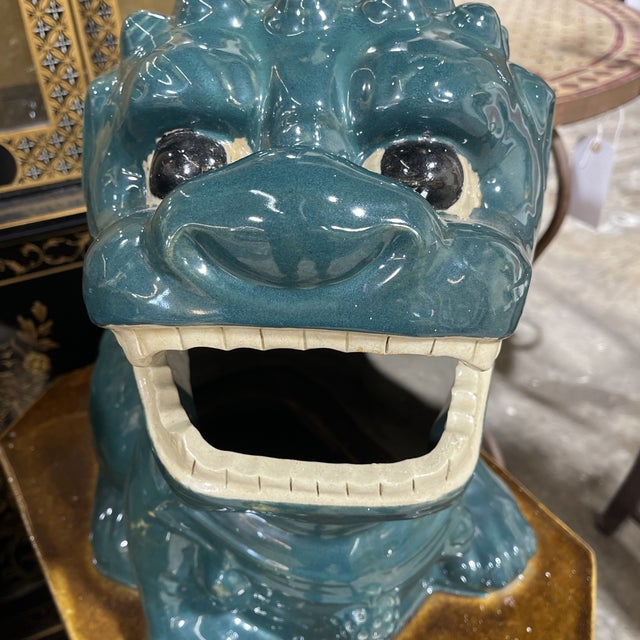 Monumental Glazed Terracotta Foo Dogs - a Pair For Sale - Image 9 of 13