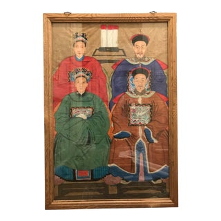 Early 20th Century Antique Ming Dynasty Ancestral Portrait Painting For Sale