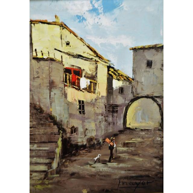 Framed European Village Scene Oil Painting For Sale In Philadelphia - Image 6 of 11