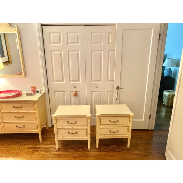 "Henry Link ""Bali Hai"" Two Drawer Nightstands - A Pair For Sale - Image 10 of 11"