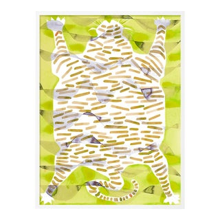 Tiger Rug Citron by Kate Roebuck in White Framed Paper, Small Art Print For Sale