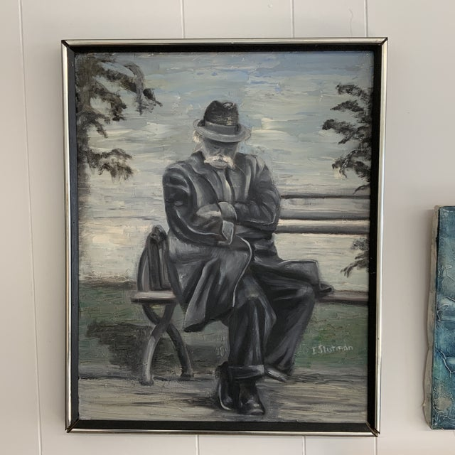 1970s Vintage Gentleman Napping on Bench Painting For Sale In Washington DC - Image 6 of 6