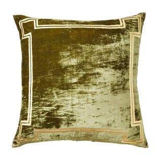 Aria Green Silk Velvet Pillow With Gold Foil Accents For Sale