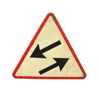 20th Century Industrial Metal Street Sign With Arrows