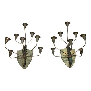 Vintage Decorative Pounded Iron Sconce Candle Holders - a Pair For Sale