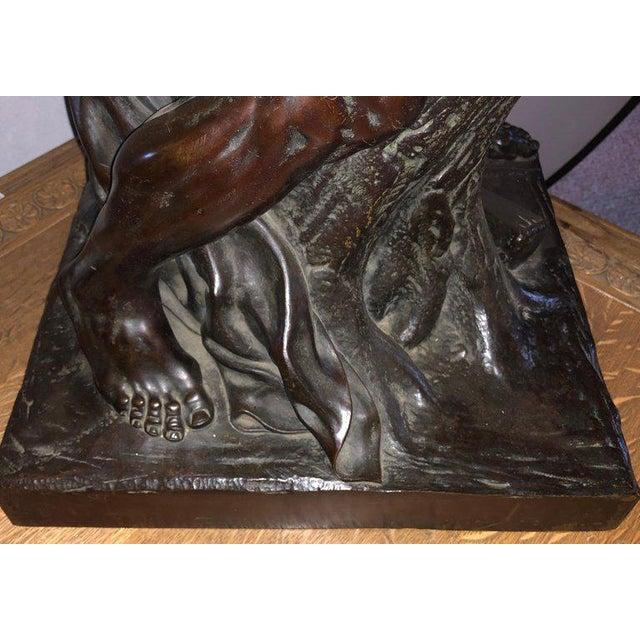 After Edme Dumont 19th Cent Large Bronze Depicting Male Figure of Milo De Croton For Sale - Image 9 of 13
