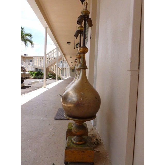 1960s Vintage Italian Gold / Silver Leaf Wood Table Lamps - A Pair For Sale In Miami - Image 6 of 8