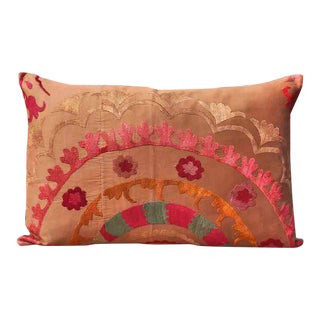 Vintage Silk Embroidered Samarkand Accent Lumbar Pillow For Sale